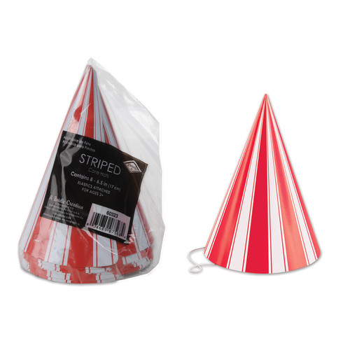 """Club Pack of 96 Red and White Striped Circus Birthday Cone Party Hats 6"""" - IMAGE 1"""