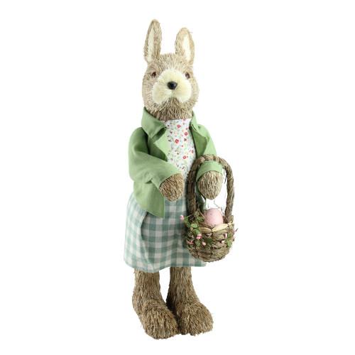 "20.25"" Easter Bunny Rabbit Spring Figure with Egg Basket - IMAGE 1"