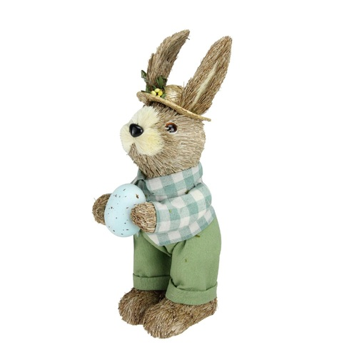 "10"" Spring Sisal Easter Standing Bunny Rabbit Figure with Robin's Egg - IMAGE 1"