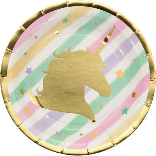 """Club Pack of 96 Mint Green and Classic Pink Unicorn Sparkle Luncheon Plates 7"""" - IMAGE 1"""