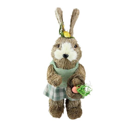 "10.5"" Sisal Easter Bunny Rabbit Spring Figure with Carrot Basket - IMAGE 1"