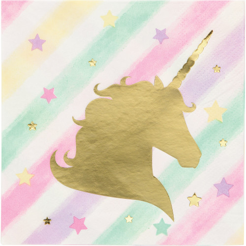 Pack of 192 Fresh Mint and Classic Pink Unicorn Sparkle Foil Stamped 3-Ply Beverage Napkins - IMAGE 1