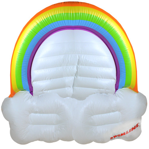 Inflatable Rainbow and Clouds Swimming Pool Float Island, 68-Inch - IMAGE 1