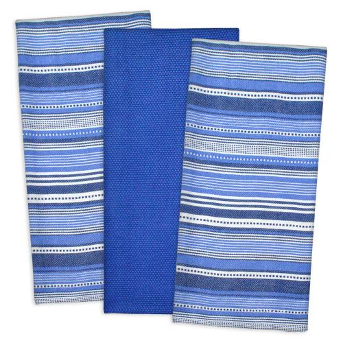 Set of 3 Nautical Blue Colored Striped Rectangular Dishtowel 20' x 30' - IMAGE 1