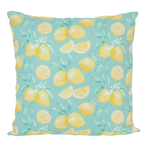 """17"""" Blue and Yellow Tropical Lemons Square Throw Pillow - IMAGE 1"""