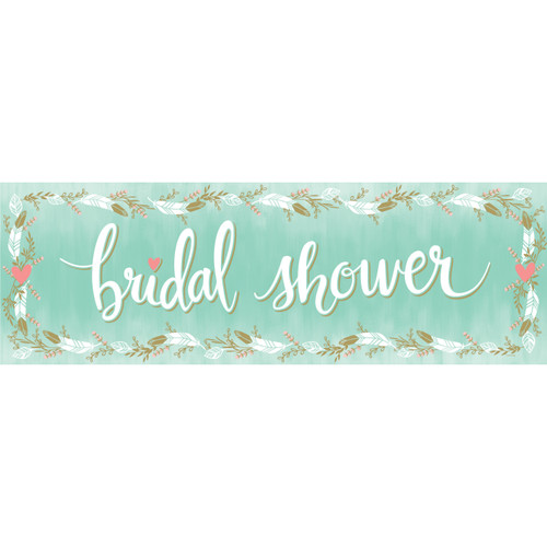 """Pack of 6 Mint Blue Decorative """"Bridal Shower"""" Feather Surrounded Giant Banners 60"""" - IMAGE 1"""