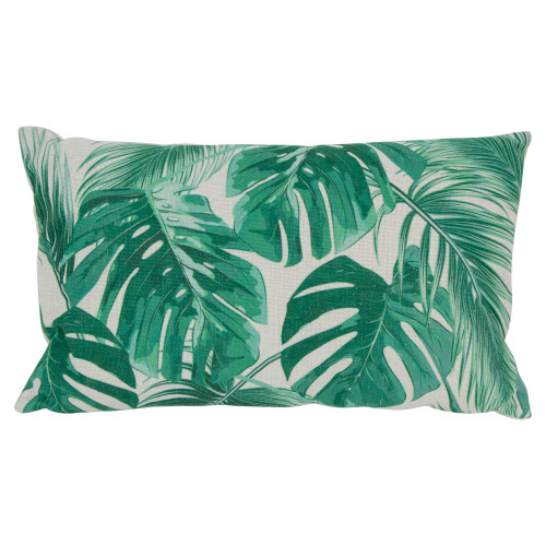 """19"""" Green and White Tropical Leaves Printed Rectangular Throw Pillow - IMAGE 1"""