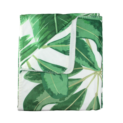 """White and Green Tropical Leaves Plush Fleece Throw Blanket 50"""" x 60"""" - IMAGE 1"""