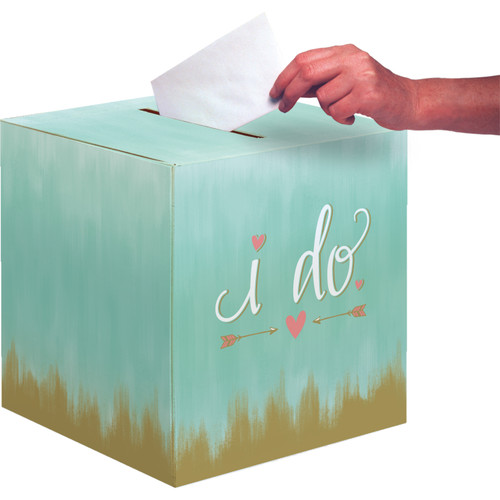 """Pack of 6 Mint Blue and Brown """"I Do"""" Gift Boxes 12"""" - IMAGE 1"""