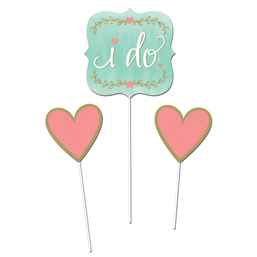 """Club Pack of 18 Mint Blue """"I Do"""" with Pink Hearts Centerpieces 3.25"""" - IMAGE 1"""