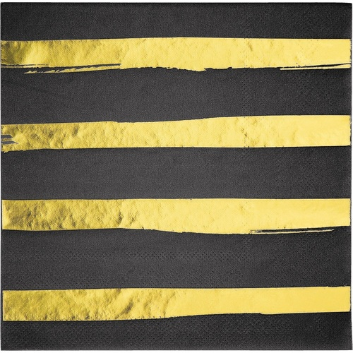 """Club Pack of 192 Black and Yellow Foil Stamped 3-Ply Luncheon Napkins 6.5"""" - IMAGE 1"""