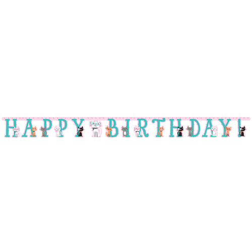 """Pack of 6 Blue and Pink Happy Birthday Themed Party Banners 8.25"""" - IMAGE 1"""