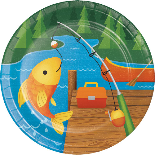 """Pack of 96 Blue and Orange Fishing Themed Round Plates 7"""" - IMAGE 1"""