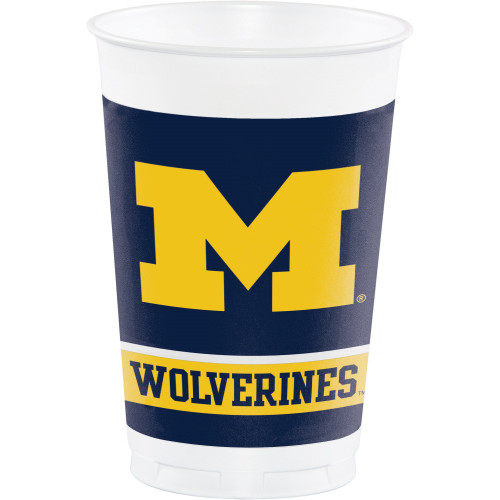 """Pack of 96 Yellow and Blue Michigan Wolverines Party Cups 7.5"""" - IMAGE 1"""