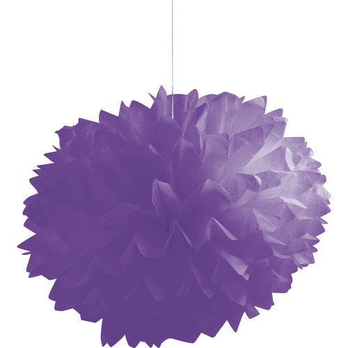 """Club Pack of 36 True Purple Fluffy Hanging Tissue Ball Party Decorations 16"""" - IMAGE 1"""