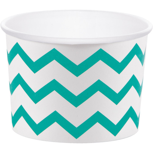 "Club Pack of 72 Teal Blue and White Chevron Pattern Treat Cup 3.5"" - IMAGE 1"