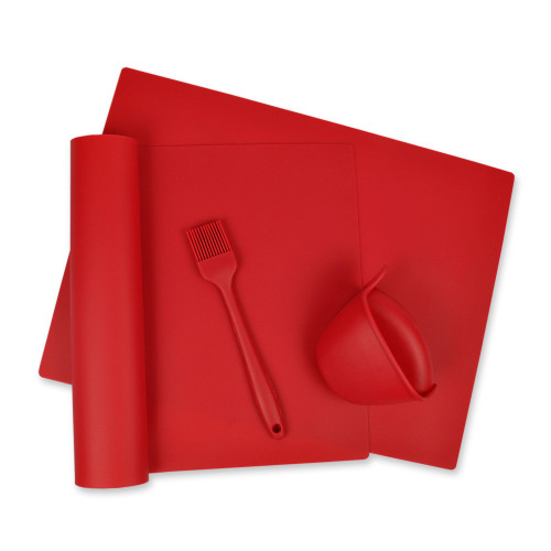 """Set of 4 Red Kitchen Baking and Serving Utensils 16"""" - IMAGE 1"""