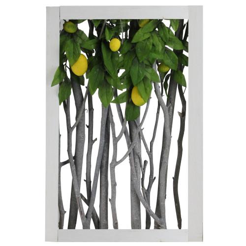 "18.5"" White Birch Branch Lemon Tree Rustic Wooden Frame Decoration - IMAGE 1"