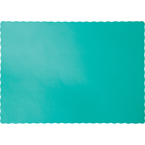 """Club Pack of 600 Teal Blue Scalloped Lagoon Disposable Placemats 13.5"""" - IMAGE 1"""