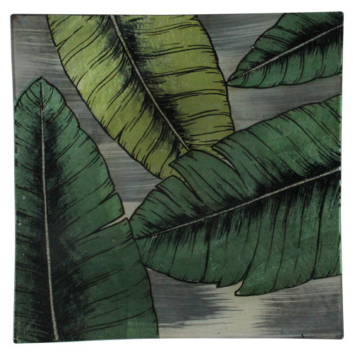 """12.5"""" Green and Gray Glass Hand Painted Tropical Palm Leaf Square Plate - IMAGE 1"""