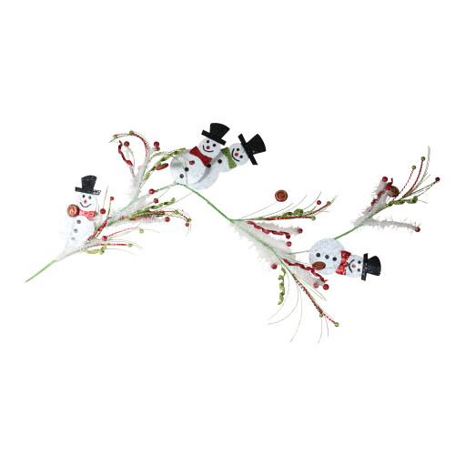 5' Green and Red Snowmen with Berries Artificial Christmas Garland - Unlit - IMAGE 1