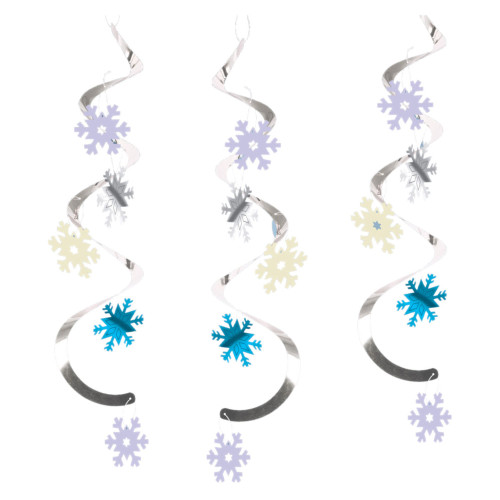 """Club Pack of 60 Blue and Silver Snowflakes Dizzy Dangler Hanging Party Decorations 24"""" - IMAGE 1"""
