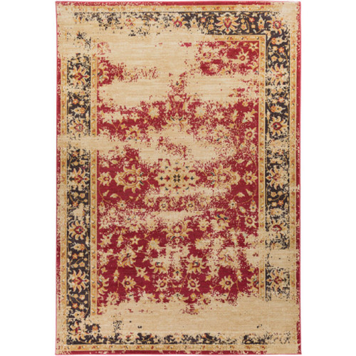 8.75' x 12.75' Distressed Red and Black Rectangular Area Throw Rug - IMAGE 1