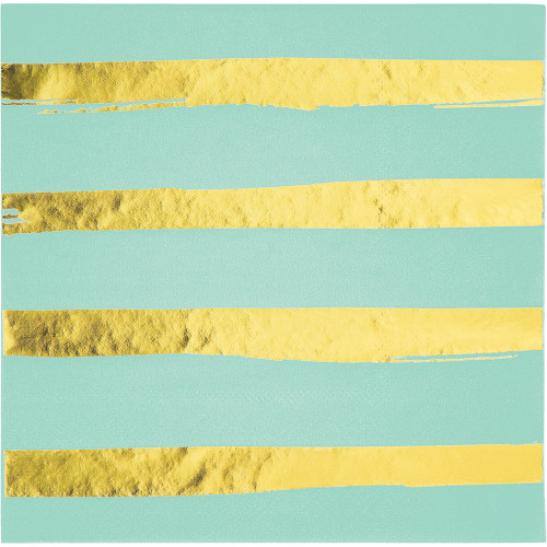 """Club Pack of 192 Mint Green and Shining Gold Foil Stamped 3-Ply Luncheon Napkins 5"""" - IMAGE 1"""