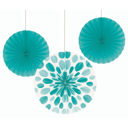 """Club Pack of 18 Teal Lagoon Hanging Tissue Paper Fan Party Decorations 16"""" - IMAGE 1"""