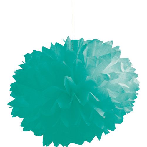 """Club Pack of 36 Teal Lagoon Fluffy Hanging Tissue Ball Party Decorations 16"""" - IMAGE 1"""