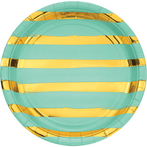 """Club Pack of 96 Mint Green and Shining Gold Foil Dinner Party Plates 8.75"""" - IMAGE 1"""
