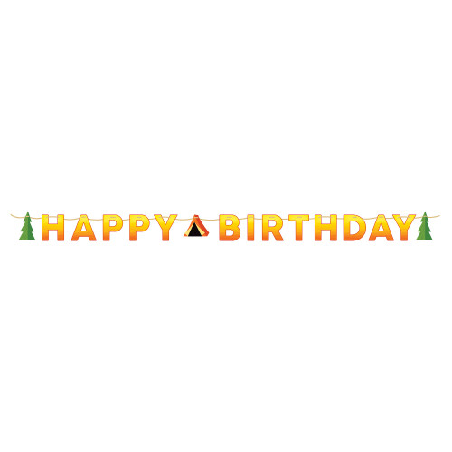 """Pack of 6 Orange and Yellow """"Happy Birthday"""" Camp Out Party Letter Banner 8.25' - IMAGE 1"""