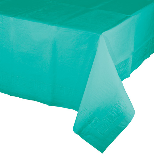 Club Pack of 12 Teal Blue Decorative Disposable Lagoon Tablecloths 9' - IMAGE 1