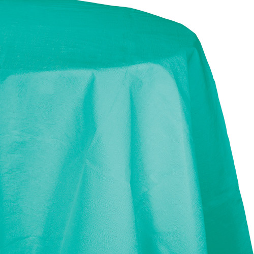 """Club Pack of 12 Teal Blue Decorative Lagoon Round Table Covers 82"""" - IMAGE 1"""