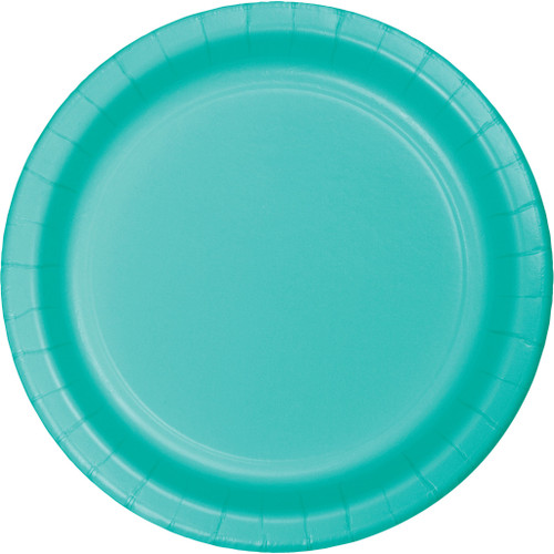 "Club Pack of 240 Decorative Teal Lagoon Disposable Round Luncheon Plates 7"" - IMAGE 1"