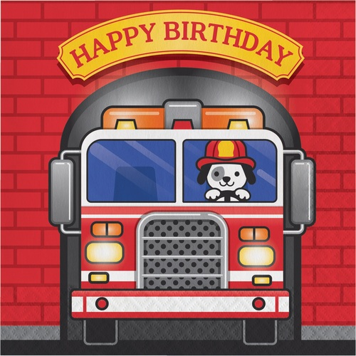"""Club Pack of 192 Red and Blue Happy Birthday Fire Truck Disposable Luncheon Napkins 6.5"""" - IMAGE 1"""