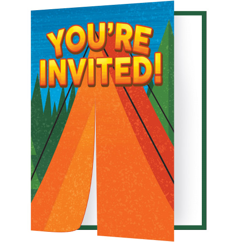 """Club Pack of 48 Blue and Green Camp Out Invitation Die-cut Fold Over 7.5"""" - IMAGE 1"""