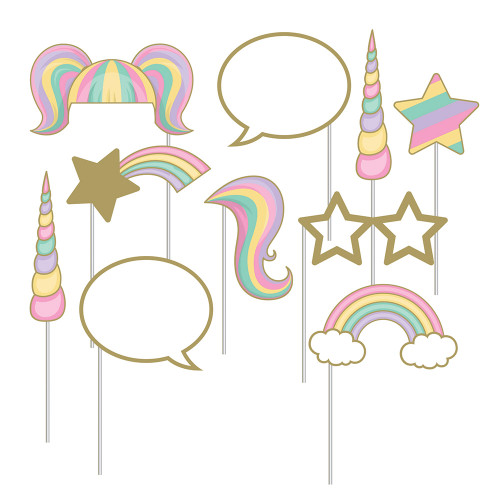 """Club Pack of 60 Pink and Blue Unicorn Sparkle Themed Photo Booth Prop Sets 10"""" - IMAGE 1"""