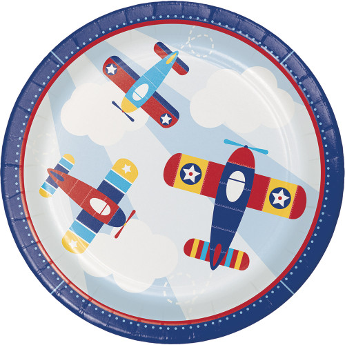 """Club Pack of 96 Blue and Red Little Flyer Airplane Disposable Round Dinner Plates 8.75"""" - IMAGE 1"""