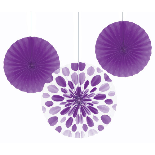 """Club Pack of 18 White and Purple Hanging Tissue Paper Fan Party Decorations 16"""" - IMAGE 1"""