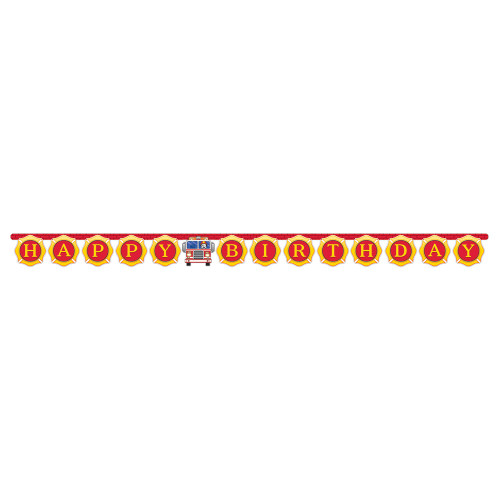 """Club Pack of 12 Yellow and Red Happy Birthday Printed Joint Banner 10.5"""" - IMAGE 1"""