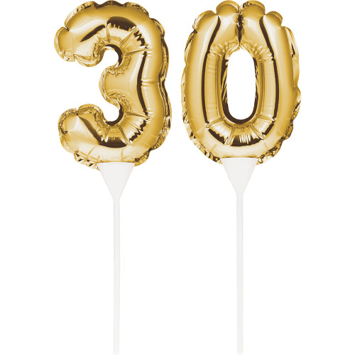 "Club Pack of 24 Gold Colored ""30"" Foil Balloon Cake Topper Picks 9"" - IMAGE 1"