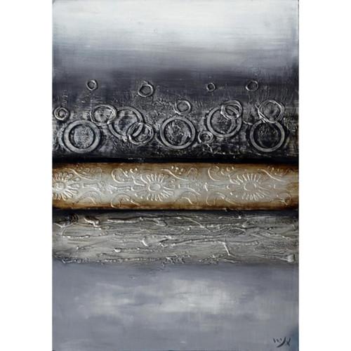 "60"" Black and Gray Abstract Giclee Printed Hanging Rectangular Wall Art - IMAGE 1"