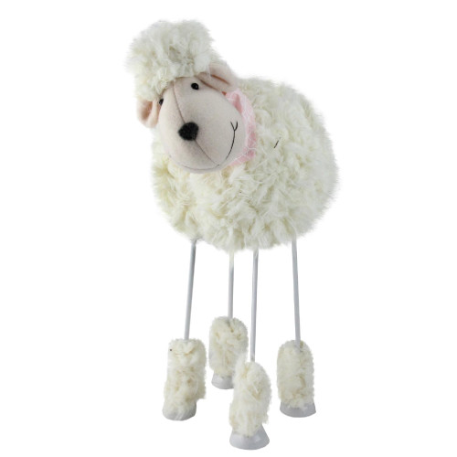 """15"""" White and Pink Bobble Action Faux Fur Sheep with Bandanna Easter Spring Decoration - IMAGE 1"""