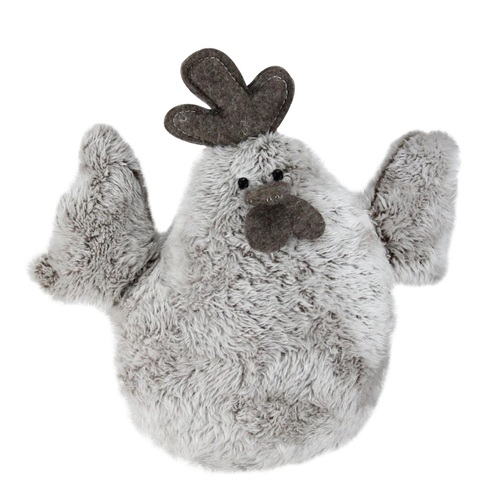 """10"""" Gray and Brown Plush Faux Fur Easter Spring Rooster Stuffed Animal - IMAGE 1"""