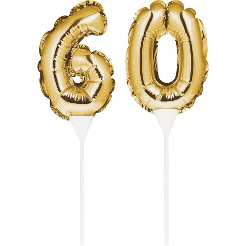 """Club Pack of 24 Gold Colored """"60"""" Balloon Cake Topper Picks 9"""" - IMAGE 1"""