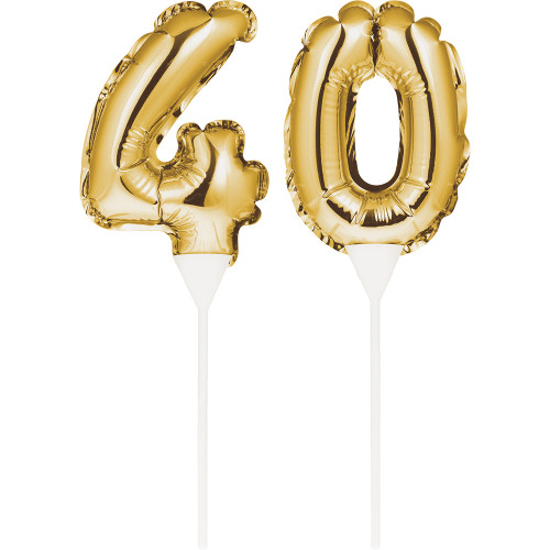 """Club Pack of 24 Gold Colored """"40"""" Balloon Cake Topper Picks 9"""" - IMAGE 1"""