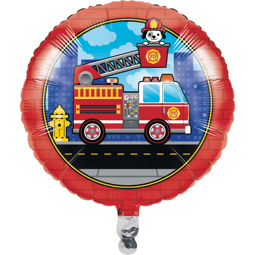 """Set of 10 Red and Blue Flaming Fire Truck Printed Balloons 18"""" - IMAGE 1"""