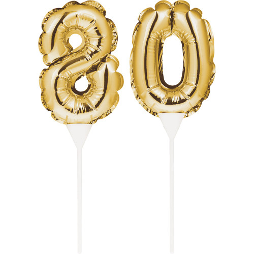"Club Pack of 24 Gold Colored ""80"" Balloon Cake Topper Picks 9"" - IMAGE 1"