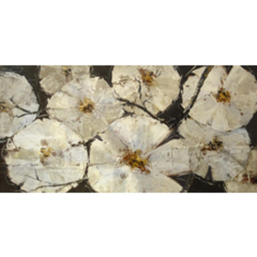 """60"""" Black and White Floral Patch and Decorative Indoor Wall Decor Painting - IMAGE 1"""